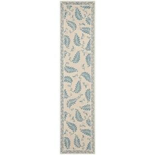 Martha Stewart Fern Frolic Plumage Blue Wool Rug (2' 3 x 10')