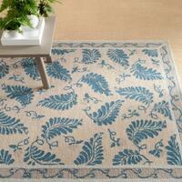Martha Stewart by Safavieh Fern Frolic Plumage Blue Wool Rug - 5' x 8'