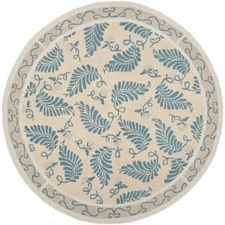 Martha Stewart Fern Frolic Plumage Blue Wool Rug (6' x 6' Round)