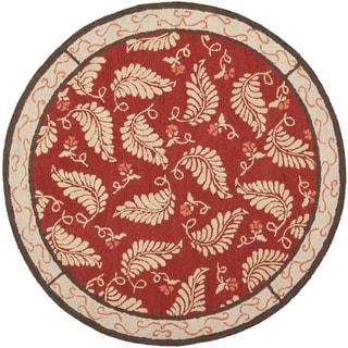 Martha Stewart Fern Frolic Saffron Red Wool Rug (6' x 6' Round)