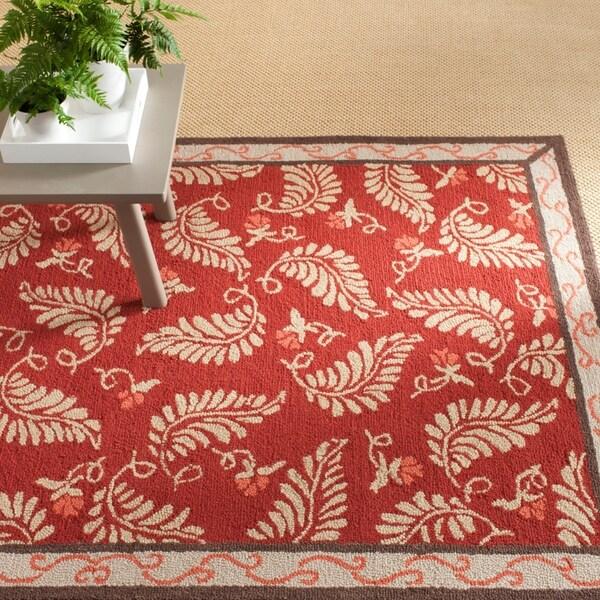 Martha Stewart by Safavieh Fern Frolic Saffron Red Wool Rug - 8' x 10'