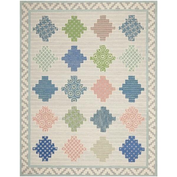 Martha Stewart Patchwork Pewter Grey Wool Rug (9' 6 x 13' 6)