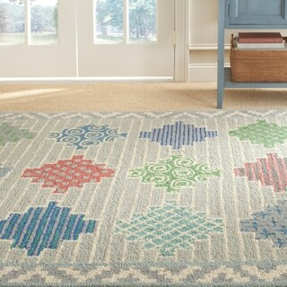 Martha Stewart Patchwork Pewter Grey Wool Rug (5' x 8')