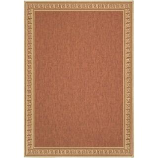 Martha Stewart by Safavieh Byzantium Terracotta/ Beige Indoor/ Outdoor Rug - 4' x 5'7