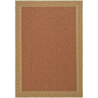 Martha Stewart by Safavieh Byzantium Terracotta/ Beige Indoor/ Outdoor Rug (6' 7 x 9' 6)