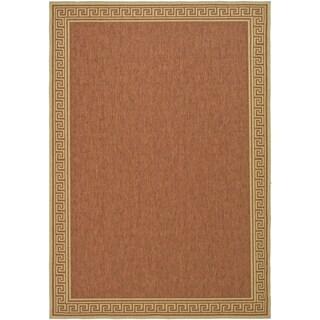 Martha Stewart by Safavieh Byzantium Terracotta/ Beige Indoor/ Outdoor Rug (6' 7 x 9' 6)