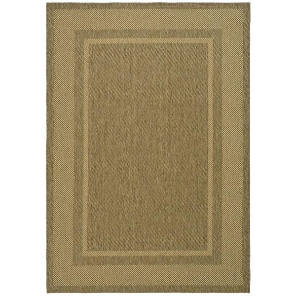 Martha Stewart by Safavieh Color Frame Coffee/ Sand Indoor/ Outdoor Rug - 8' x 11'2
