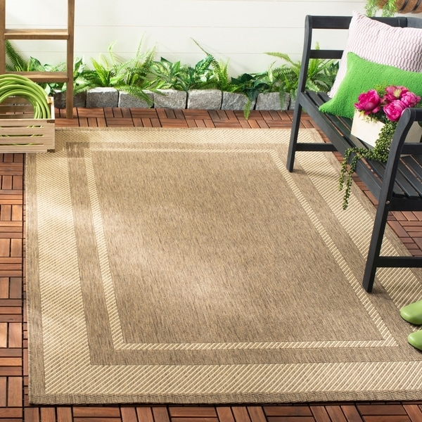 Martha Stewart by Safavieh Color Frame Coffee/ Sand Indoor/ Outdoor Rug - 8' x 11'2
