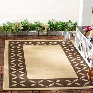 Martha Stewart by Safavieh Mallorca Border Cream/ Chocolate Indoor/ Outdoor Rug - 5'3' x 7'7'