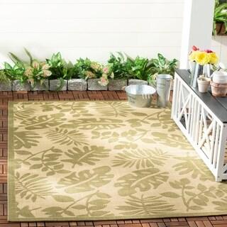 Martha Stewart by Safavieh Paradise Cream/ Green Indoor/ Outdoor Rug (5' 3 x 7' 7)