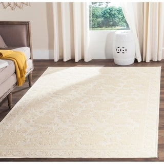 Martha Stewart Peony Damask Cream Viscose Rug (5' 3 x 7' 6)