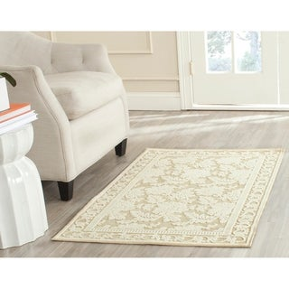 Martha Stewart Peony Damask Cream Viscose Rug (8' x 11' 2)