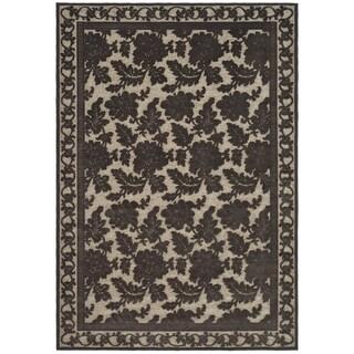 Martha Stewart by Safavieh Peony Damask Light Brown Viscose Rug (4' x 5' 7)