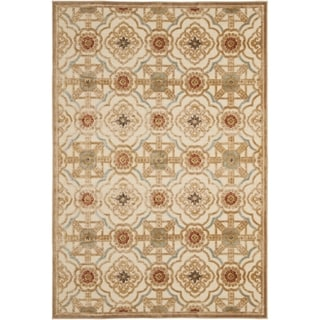 Martha Stewart Imperial Palace Taupe/ Cream Viscose Rug (5' 3 x 7' 6)
