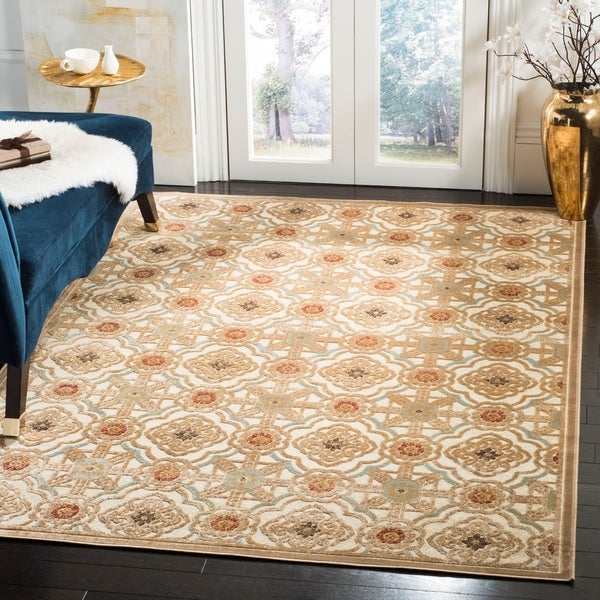 Martha Stewart by Safavieh Imperial Palace Taupe/ Cream Viscose Rug - 8' x 11'2