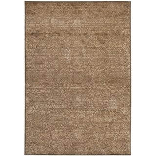 Martha Stewart Heritage Bloom Soft Anthracite/ Camel Viscose Rug (4' x 5' 7)