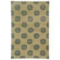 Martha Stewart by Safavieh Medallions Aqua/ Marine Silk/ Wool Rug - 5'6 x 8'6