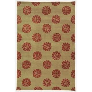 Martha Stewart Medallions Garnet Silk/ Wool Rug (8' 6 x 11' 6)