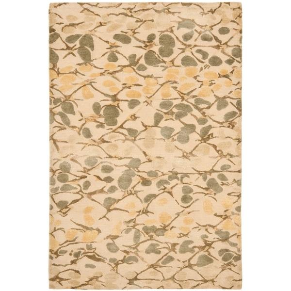 Martha Stewart by Safavieh Abstract Trellis Wheat Beige Silk/ Wool Rug - 8' x 10'