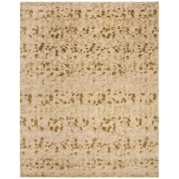 Martha Stewart by Safavieh Abstract Trellis Sprout Green Silk/ Wool Rug - 8' x 10'