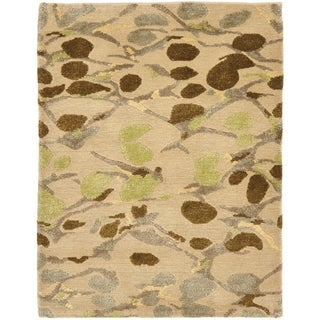 Martha Stewart Abstract Trellis Sprout Green Silk and Wool Rug (9' x 12')