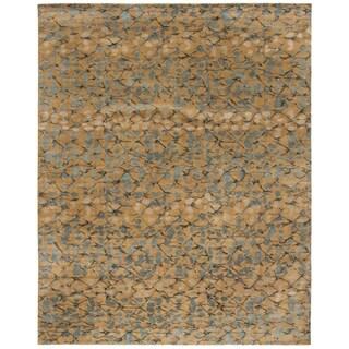 Martha Stewart Abstract Trellis Husk Brown Silk and Wool Rug (8' x 10')