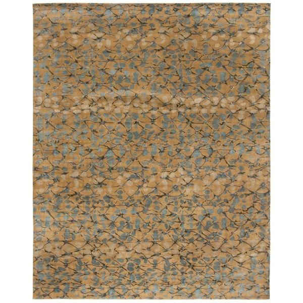Martha Stewart by Safavieh Abstract Trellis Husk Brown Silk/ Wool Rug - 8' x 10'