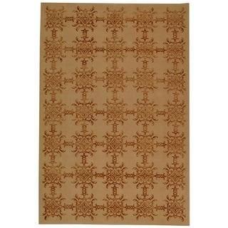 Martha Stewart Tracery Rose/ Wood Silk and Wool Rug (7' 9 x 9' 9)