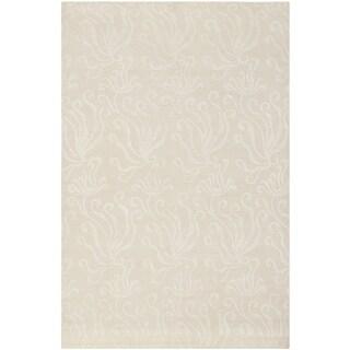 Martha Stewart Seaflora Pearl Silk and Wool Rug (3' 9 x 5' 9)
