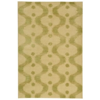Martha Stewart by Safavieh Ikat Marsh Ginkgo Silk/ Wool Rug (5' 6 x 8' 6)