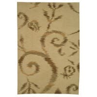 "Martha Stewart by Safavieh Damask Vine Raw Umber Silk/ Wool Rug - 3'9"" x 5'9"""