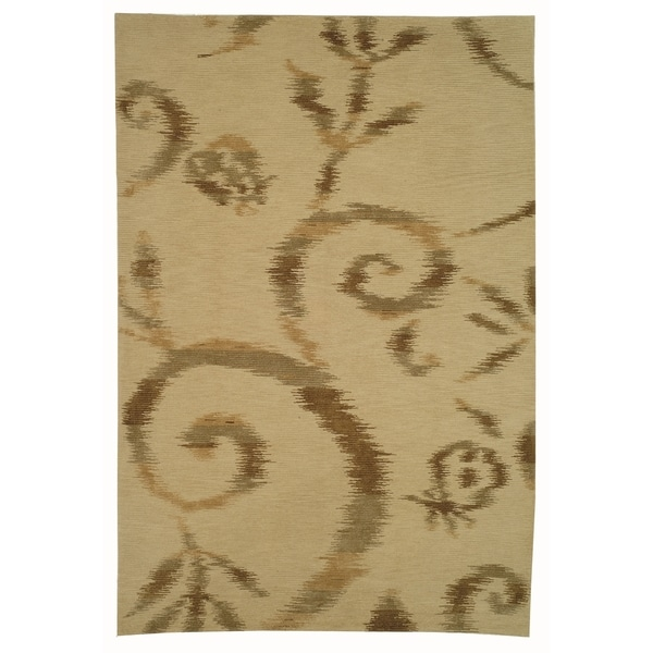 Martha Stewart by Safavieh Damask Vine Raw Umber Silk/ Wool Rug (5' 6 x 8' 6)