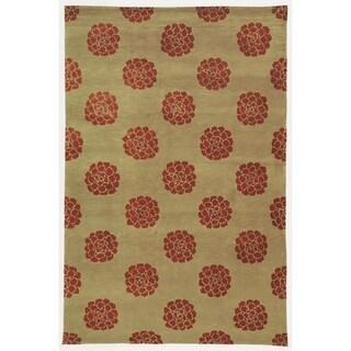 Martha Stewart Medallions Garnet Silk/ Wool Rug (3' 9 x 5' 9)
