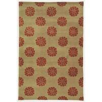 Martha Stewart by Safavieh Medallions Garnet Silk/ Wool Rug - 5'6 x 8'6