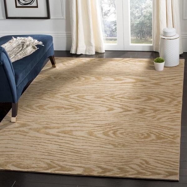 Martha Stewart by Safavieh Faux Bois Porcini Silk/ Wool Rug - 9' 6 x 13' 6