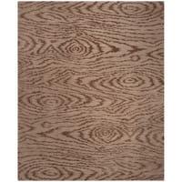 Martha Stewart by Safavieh Faux Bois Truffle Silk/ Wool Rug (7' 9 x 9' 9) - 7'9 x 9'9