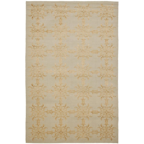 Martha Stewart by Safavieh Tracery Grey/ Beige Silk/ Wool Rug - 9' 6 x 13' 6
