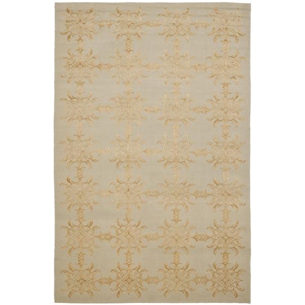Martha Stewart by Safavieh Tracery Grey/ Beige Silk/ Wool Rug - 8'6 x 11'6