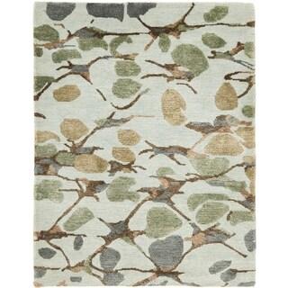 Martha Stewart Abstract Trellis S.House Slate Blue Silk/ Wool Rug (6' x 9')