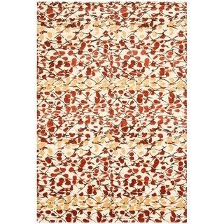 Martha Stewart by Safavieh Abstract Trellis Bard Red Silk/ Wool Rug - 6' x 9'