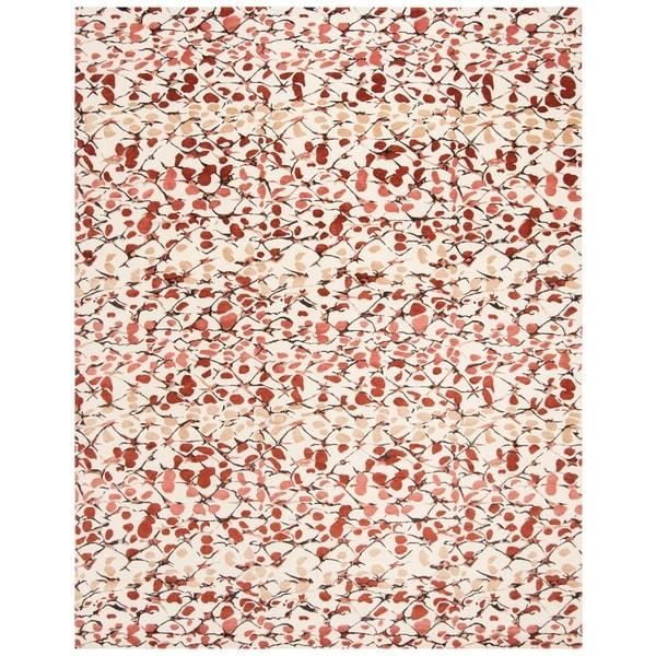 Martha Stewart by Safavieh Abstract Trellis Bard Red Silk/ Wool Rug - 8' x 10'