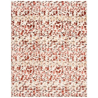 Martha Stewart by Safavieh Abstract Trellis Bard Red Silk/ Wool Rug - 8' x 10'