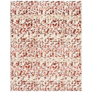 Martha Stewart Abstract Trellis Bard Red Silk/ Wool Rug (9' x 12')