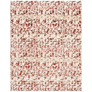 Martha Stewart by Safavieh Abstract Trellis Bard Red Silk/ Wool Rug (9' x 12')