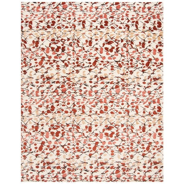 Martha Stewart by Safavieh Abstract Trellis Bard Red Silk/ Wool Rug - 9' x 12'