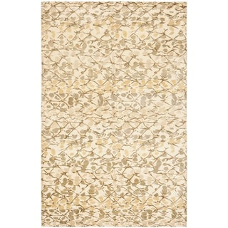 Martha Stewart by Safavieh Abstract Trellis Wheat Beige Silk/ Wool Rug (6' x 9')