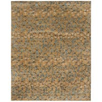 Martha Stewart by Safavieh Abstract Trellis Husk Brown Silk/ Wool Rug - 9' x 12'