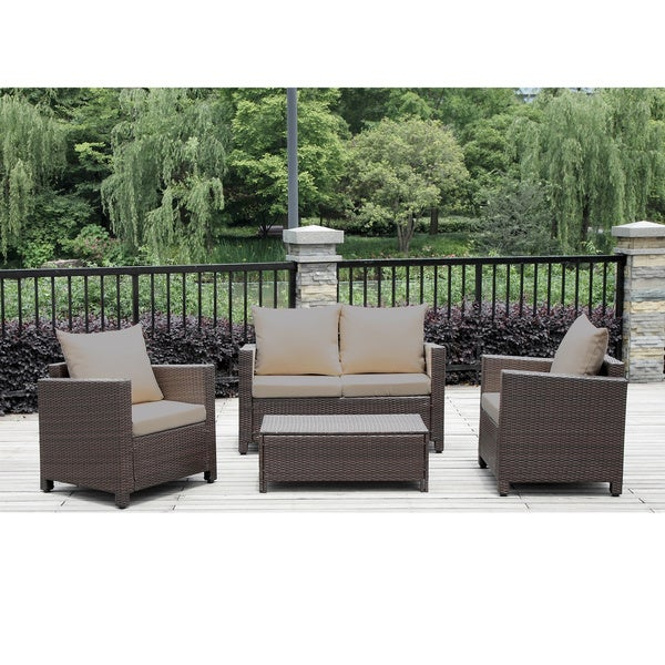portfolio kenyon valley brown wicker indoor outdoor 4 piece loveseat