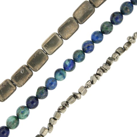 Pearlz Ocean Pyrite and Azurite Loose Bead Strands (Set of 3) Jewelry for Womens