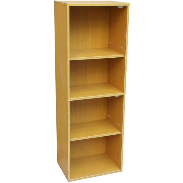 Oak 4-tier Adjustable Bookshelf